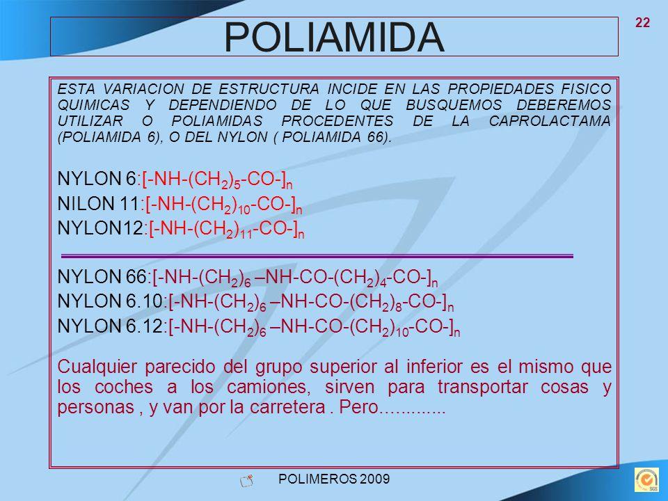 POLIAMIDA NYLON 6:[-NH-(CH2)5-CO-]n NILON 11:[-NH-(CH2)10-CO-]n